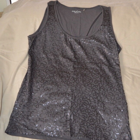 Nordstrom Caslon Tops - Nordstrom Caslon Gray Sequined Fitted Tee Size Med